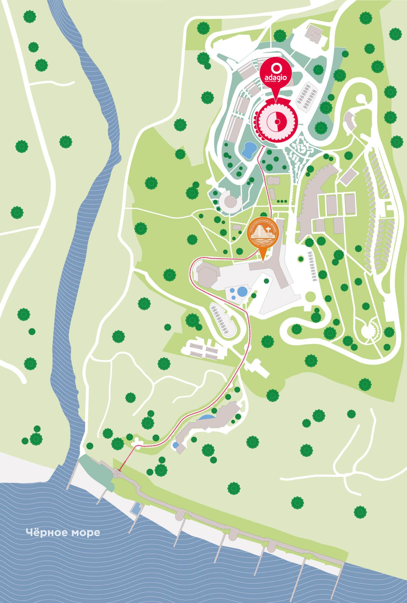 План территории Adagio Le Rond Sochi